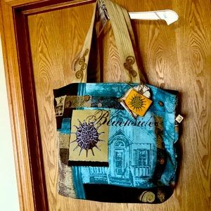 Beachside embroidered canvas zip top tote bag